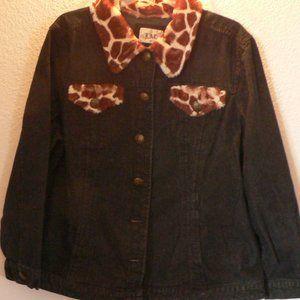 XL jean jacket with giraffe print collar.